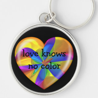 Love Knows No Color Kaleidoscope Amber Heart Silver-Colored Round Key Ring