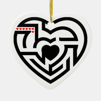 love labyrinth ceramic heart decoration