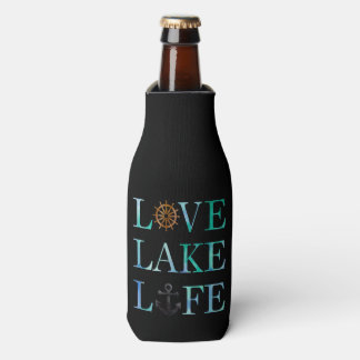 Love Lake Life Nautical Watercolor Typography Bottle Cooler