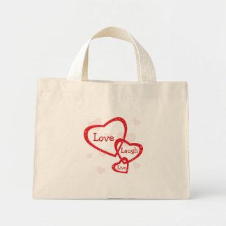 Love Laugh Live Hearts Small Canvas Tote Bag