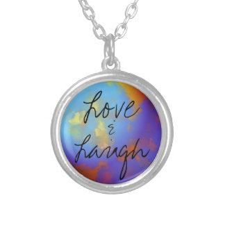 love & laugh silver plated necklace