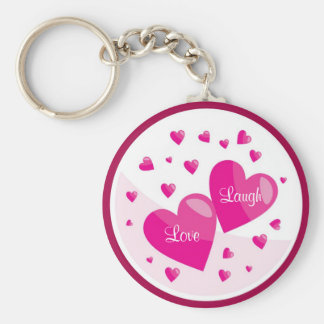 Love Laugh with Hearts Budget Key Chain