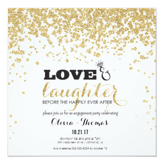 Love & Laughter Gold Glitter Engagement Invite