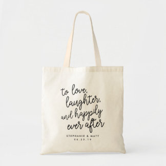 Love, Laughter & Happily Ever After Wedding Favor Tote Bag