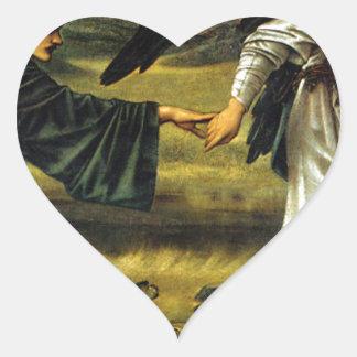 Love Leading The Pilgrim by Edward Burne-Jones Heart Sticker