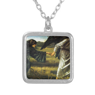 Love Leading The Pilgrim by Edward Burne-Jones Square Pendant Necklace