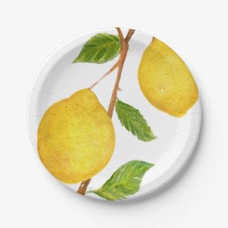 Love Lemons Watercolor Paper Plates