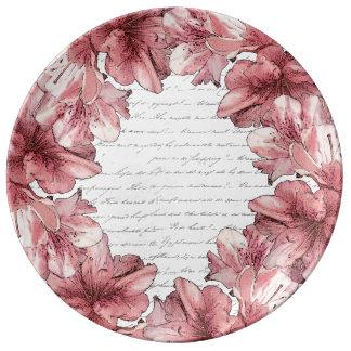 Love Letter Pink Illustrated Flower on White Porcelain Plate