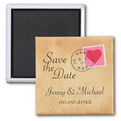 Love letter Save the Date magnet with heart stamp