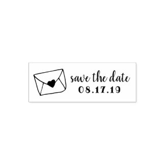 Love Letter Sealed Heart Envelope Save the Date Self-inking Stamp