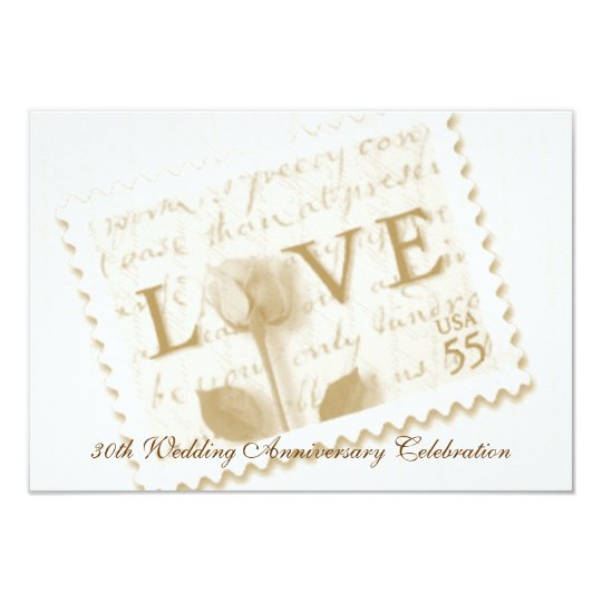 Love Letter Stamp Anniversary Invitations