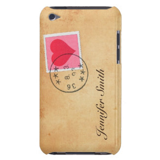 Love letter with heart postage stamp iPod case