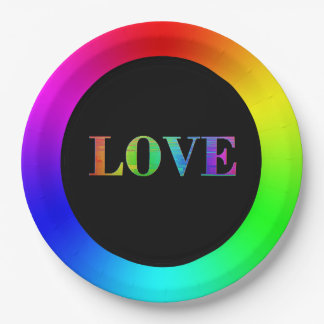 Love , LGBT Rainbow Party Paper Plates