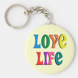 LOVE LIFE! customizable christian message Basic Round Button Key Ring