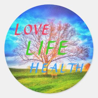 LOVE LIFE HEALTH TREE small round sticker