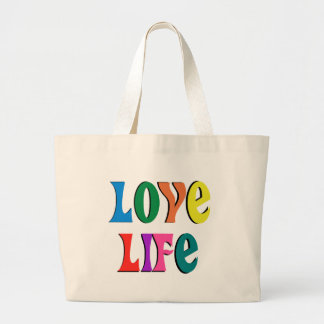 LOVE LIFE tote ~ customizable ~a christian message Jumbo Tote Bag