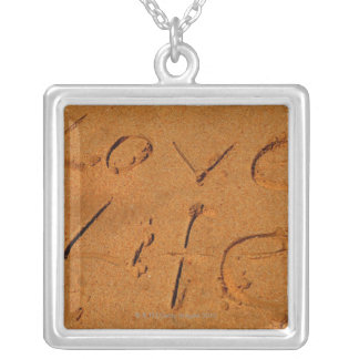 'Love Life' written in Sand Silver Plated Necklace