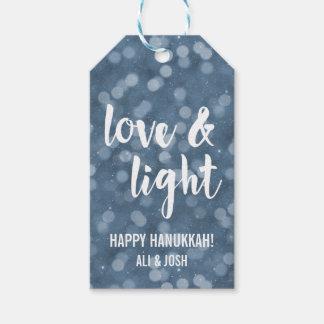 Love & Light   Blue Bokeh Hanukkah Gift Tags