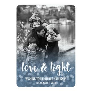 Love & Light Bokeh Hanukkah Photo Card 13 Cm X 18 Cm Invitation Card