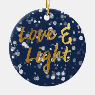 Love & Light | Faux Foil Lovely Bokeh Hanukkah Ceramic Ornament