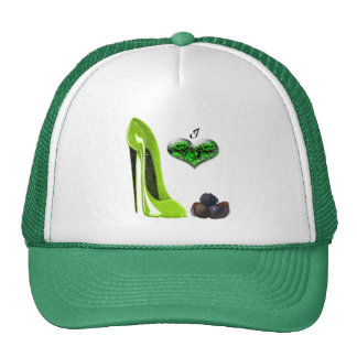 Love Lime Green Stiletto Shoe and Chocolates Art Cap