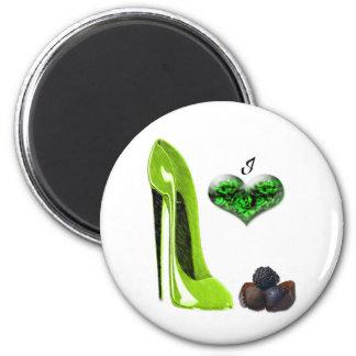 Love Lime Green Stiletto Shoe and Chocolates Art Fridge Magnet