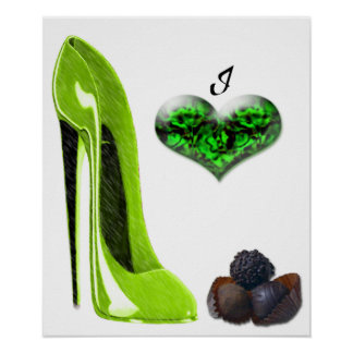 Love Lime Green Stiletto Shoe and Chocolates Art   Poster