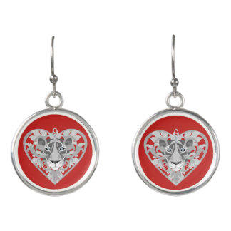 Love Lioness Locket (red) drop earrings