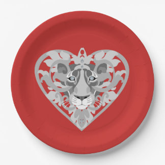 Love Lioness Locket (red) paper plate