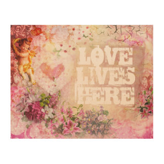 Love Lives Here Wood Canvas