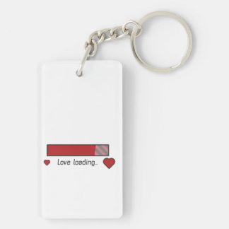 love loading gaming heart Zev4x Double-Sided Rectangular Acrylic Key Ring