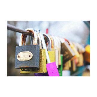 Love lock bridge canvas print