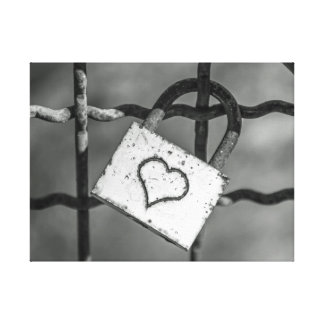 Love lock in black and white canvas print