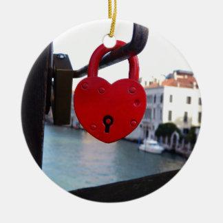 love lock in venice ceramic ornament