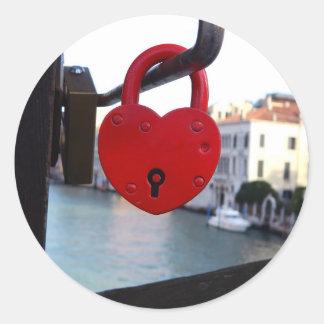 love lock in venice classic round sticker