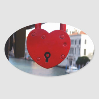 love lock in venice oval sticker