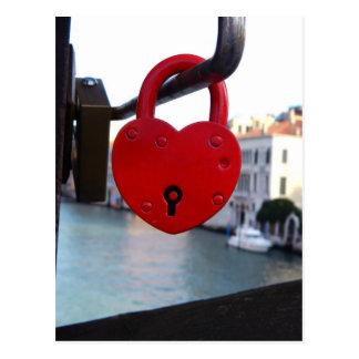 love lock in venice postcard
