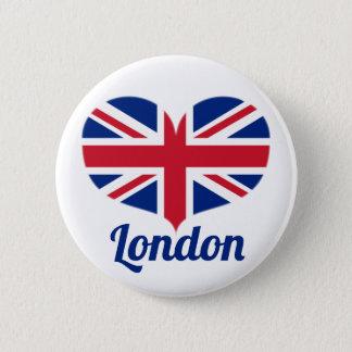 Love London | Heart Shaped UK Flag / Union Jack 6 Cm Round Badge