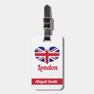 Love London | Heart Shaped Union Jack Personalized Luggage Tag