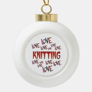 Love Love Knitting Ceramic Ball Decoration