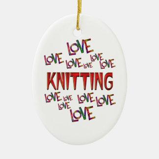Love Love Knitting Ceramic Oval Decoration