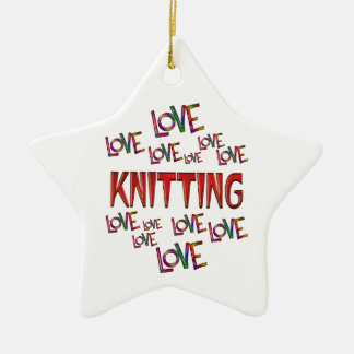 Love Love Knitting Ceramic Star Decoration