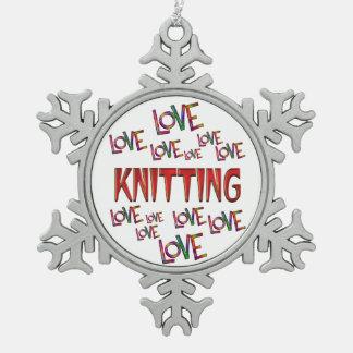 Love Love Knitting Pewter Snowflake Decoration