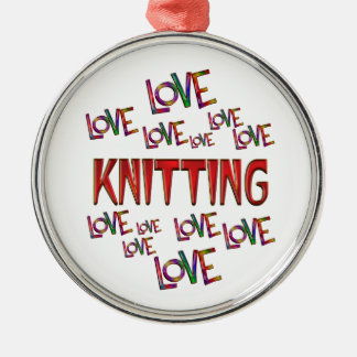 Love Love Knitting Silver-Colored Round Decoration