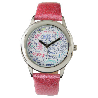 Love Love Love - Cute Girly Pink Glitter Watch