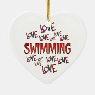 Love Love Swimming Ceramic Heart Decoration