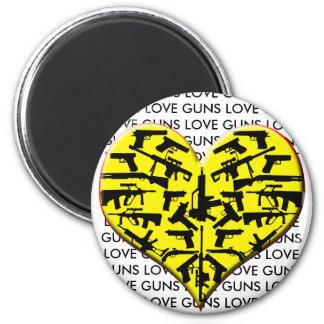 LOVE LUV GUNS HEART FRIDGE MAGNETS