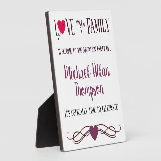 Love Makes a Family - Adoption Party Supplies Plaque
