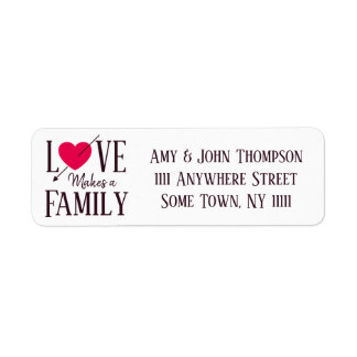 Love Makes a Family - Adoption Party Supplies Return Address Label