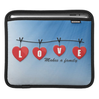 Love Makes a Family - Hearts iPad Sleeve